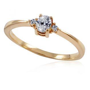 Золотое кольцо с овальным бриллиантом «Лия»