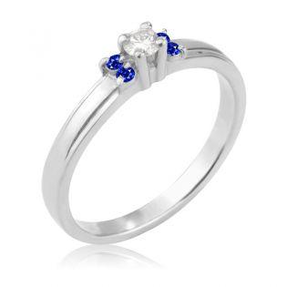 Женское кольцо с сапфирами и бриллиантом «La Tendresse»