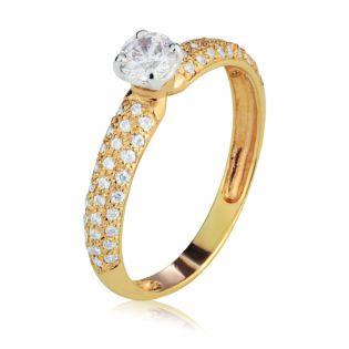 Кольцо золотое для помолвки с камнями Сваровски «Raffaella»