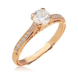 Золотое помолвочное кольцо с большим камнем «Влюблена»