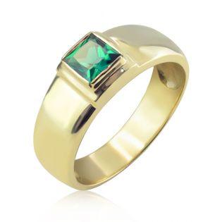 Золотое мужское кольцо с гидроизумрудом «Хранитель»