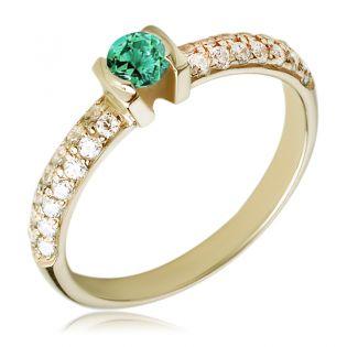 Золотое кольцо с изумрудом в обсыпке Swarovski «El comienzo»