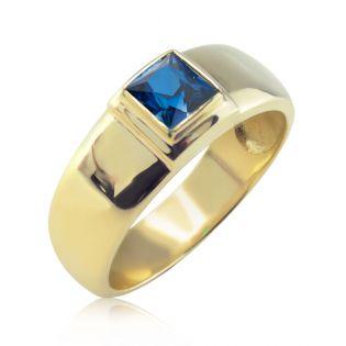 Золотое мужское кольцо с сапфиром «Хранитель»