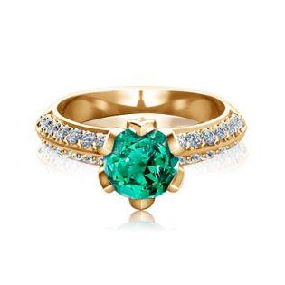 Золотое кольцо с крупным изумрудом «Тюльпан»