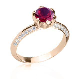 Золотое кольцо с крупным рубином 1 Ct «Тюльпан»