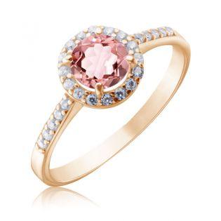 Золотое кольцо с розовым морганитом «Алеся»