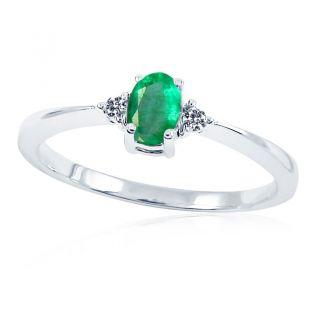 Золотое кольцо с овальным изумрудом «Лия»