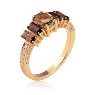 Золотое кольцо с раухтопазами «Aqua Raukh»