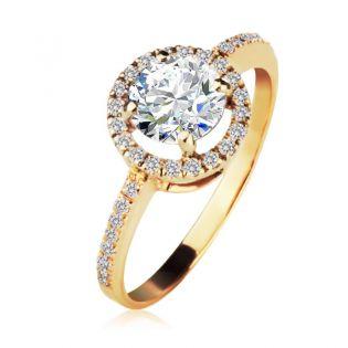 Кольцо с большим круглым камнем Swarovski «Оливия»