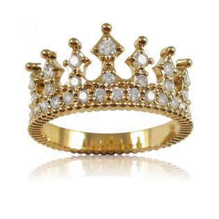 Золотое кольцо корона с россыпью фианитов «Crown»
