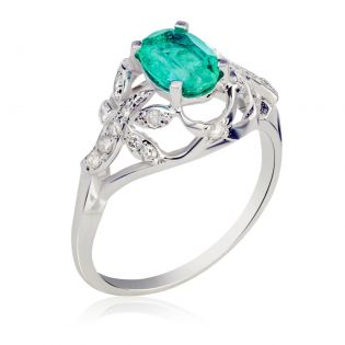 Элитное кольцо с изумрудом 1 Ct «El Secreto»