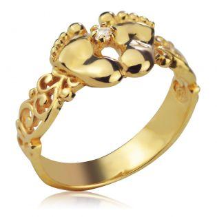 Золотое кольцо к рождению ребенка «Ножки малютки»