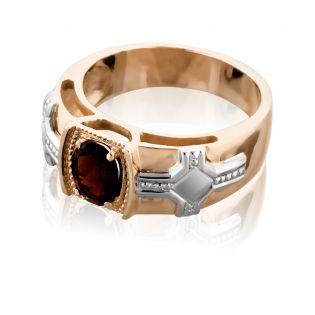 Мужское кольцо с круглым гранатом «Королевская печать»