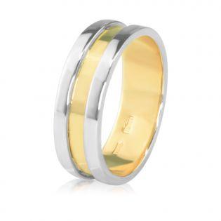 Обручальное кольцо из белого и желтого золота «Альянс»