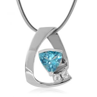 Кулон с топазом триллион и двумя бриллиантами «Leighton»