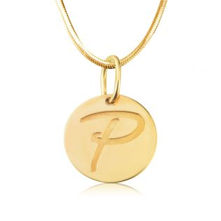 Золотой круглый кулон с гравировкой «Монетка»