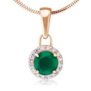 Золотой кулон с зеленым агатом «Алеся»