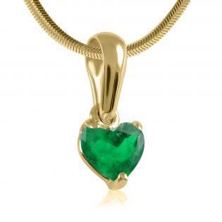 Золотой кулон с изумрудом сердцем «Esmeralda»