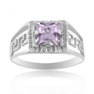 Золотой перстень с квадратным аметистом «Меандр»