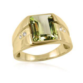 Золотой перстень с зеленым бериллом «LandLord»