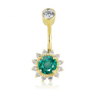 Золотой пирсинг в пупок с зеленым топазом «Wow»