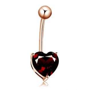 Золотой пирсинг в пупок с гранатом «Сердце»