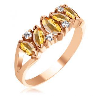 Золотое кольцо с цитринами и камнями Сваровски «Кимберли»
