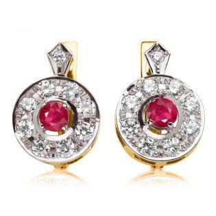 Круглые серьги рубином и белыми сапфирами «Kamaliya»