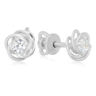 Золотые серьги гвоздики с бриллиантами «Light breeze»