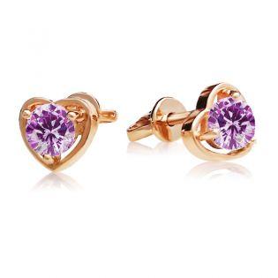 Золотые сережки-сердечки пусеты с аметистом «Preferita»