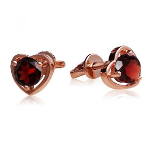 Золотые сережки гвоздики серца с гранатом «Preferita»