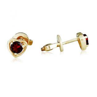 Золотые сережки-сердечки гвоздики с гранатом «Preferita»