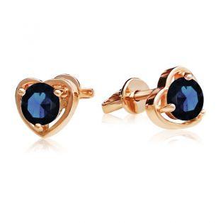 Золотые сережки-сердечки с сапфиром «Preferita»