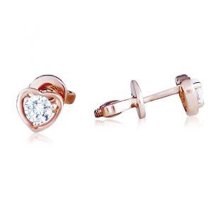 Золотые сережки-сердечки пусеты с камнями «Preferita»