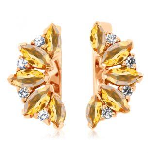 Золоті сережки з цитринами «Кімберлi»