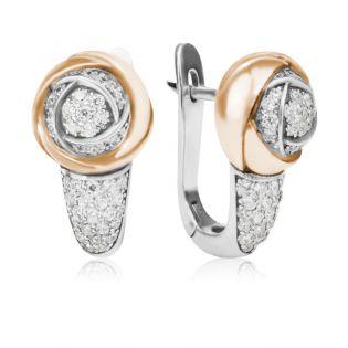 Серьги с кристаллами Сваровски «Роза Дамиано»