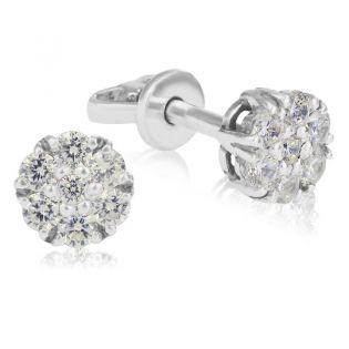 Золотые серьги с бриллиантами «Mystic Flower»