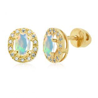 Серьги золотые с овальными опалами «Twinkle»