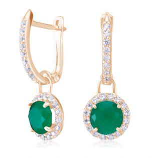 Золотые серьги с зелеными агатами «Алеся»