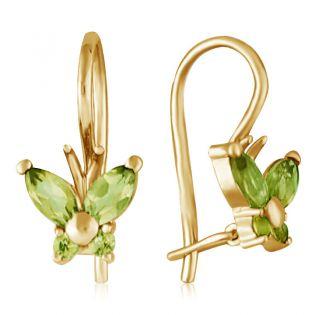 Золотые серьги бабочки с хризолитами «Little Miss»