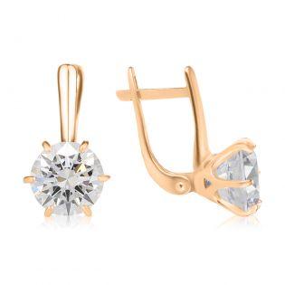 Золотые сережки с большими фианитами «My Tiffany»