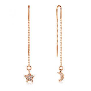 Длинные серьги цепочки с бриллиантами «Звезда и месяц»