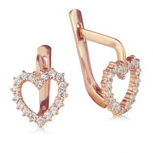 Золотые серьги пусеты с цирконием «Нежные сердечки»