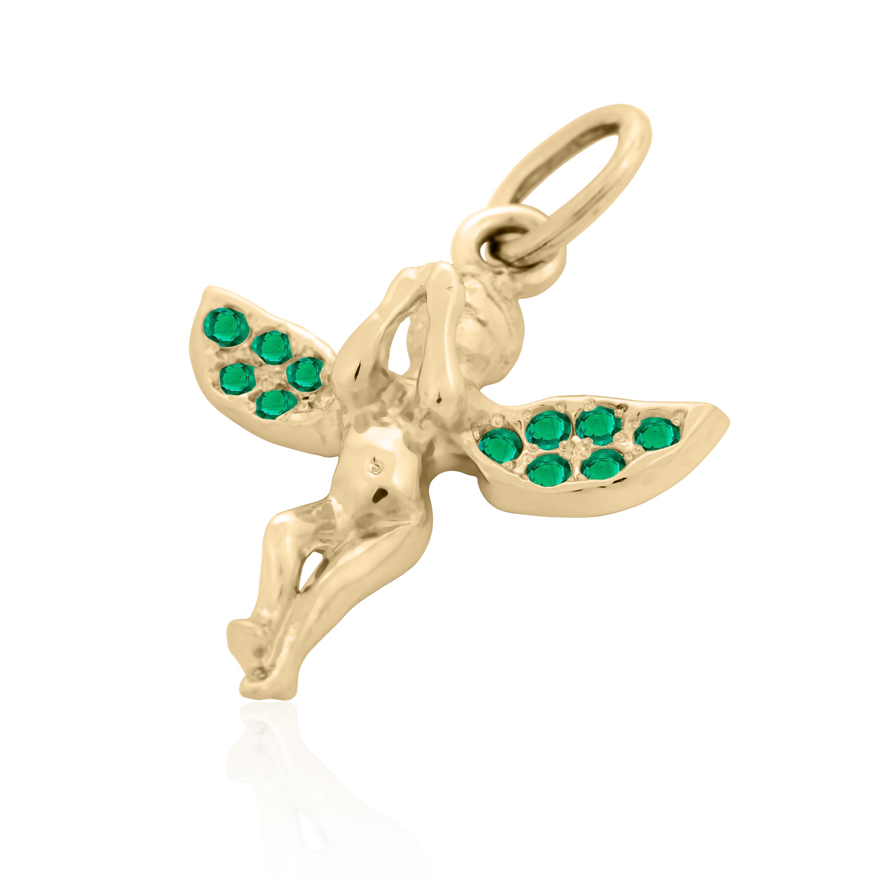 Золота підвіска з смарагдами «Ангел щастя»