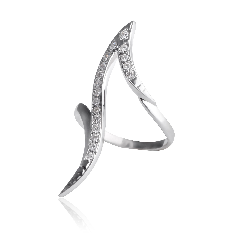 Золота фалангова каблучказ діамантами «Лаврова гілка»