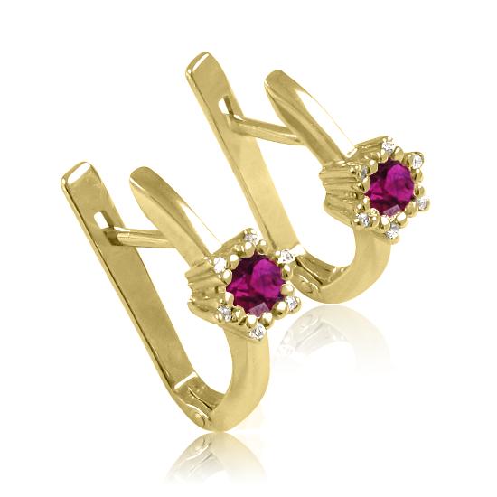 Золоті сережки з родолітом «Царівна Будур»