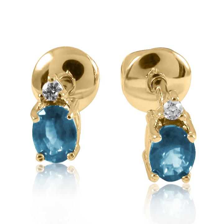 Золотые серьги-пусеты с овальным топазом «Камелия»