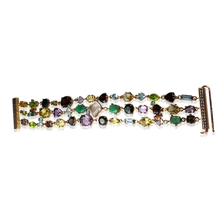 Золотий браслет з кольоровими каменями «Carnival»