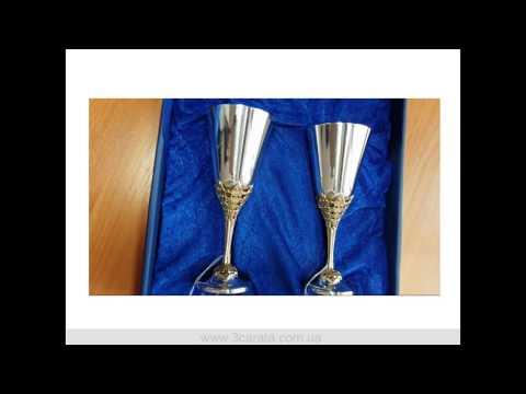 Набір двох посріблених латунних чарок «Святкові»