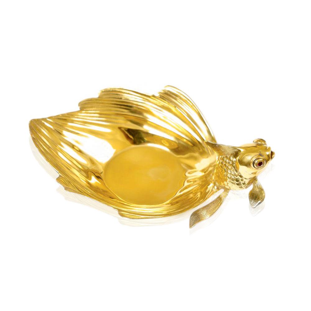 Икорница из серебра «Золотая рыбка»